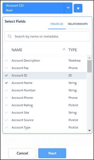 Select Fields page with Account ID and Account Name selected