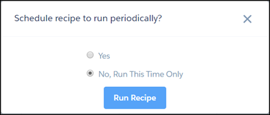 Schedule recipe confirmation prompt