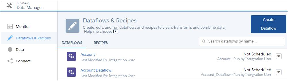 Dataflows & Recipes page