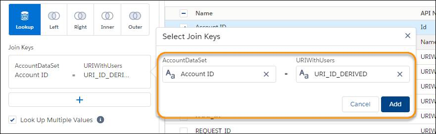 Join Key fields with the AccountDataSet and URIWithUsers datasets highlighted