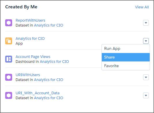 Analytics for CIO app menu shown with Share option highlighted