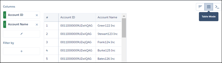 AccountInfo values table