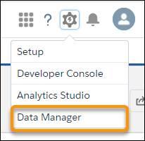 [データマネージャ] オプションが強調表示されているギアアイコンメニュー