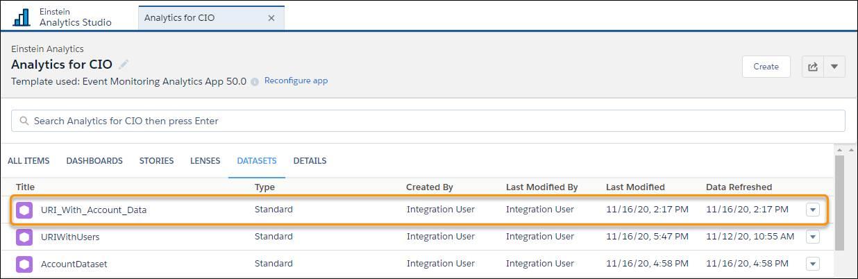 [URI_With_Account_Data] が強調表示されている [データセット] ビューページ