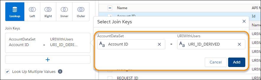 [AccountDataSet] データセットと [URIWithUsers] データセットが強調表示された [結合キー] の項目