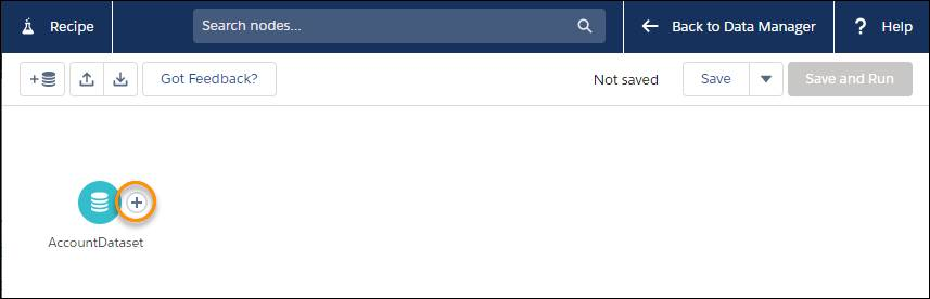 AccountDataset アイコンが表示され、プラス記号関数が強調表示されている [レシピ] ビューページ