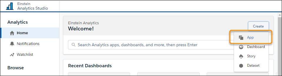 [作成] メニューが表示され、[アプリケーション] オプションが強調表示されている Tableau CRM Analytics Studio ページ