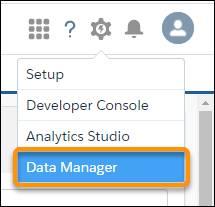 [Tableau CRM データマネージャ] オプションが強調表示されているギアアイコンメニュー