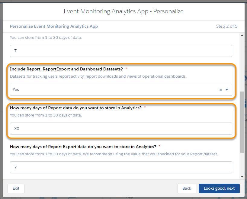 [Event Monitoring Analytics アプリケーション - パーソナライズ] ウィザードページ