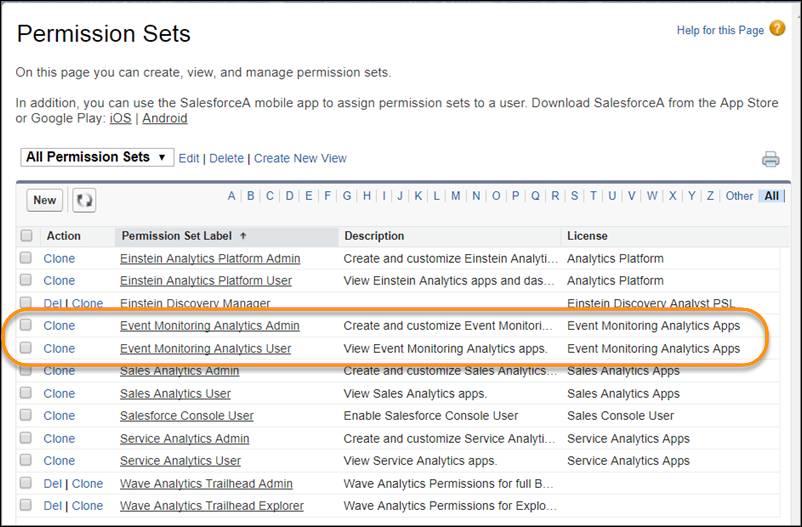 「Event Monitoring Analytics」標準権限セットが強調表示されている [権限セット] ページ