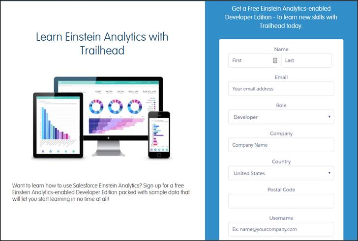 Signup page for the Tableau CRM-enabled Developer Edition org