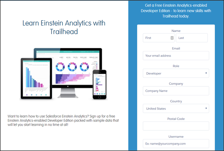 Sign up page for Einstein Analytics-enabled Developer Edition org