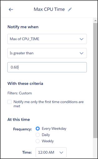 设置最大CPU时间的通知窗格