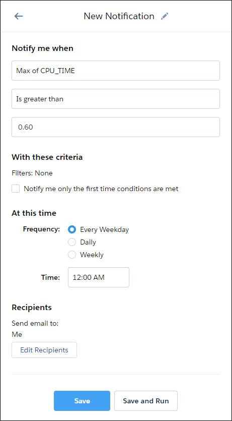 Set Notification pane for Max CPU Time