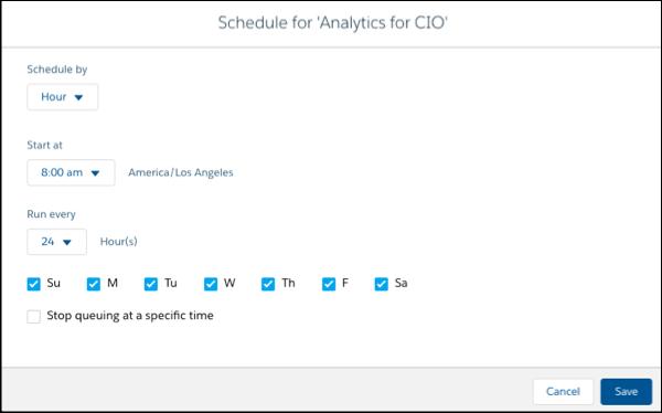 Schedule Analytics for CIO dataflow page