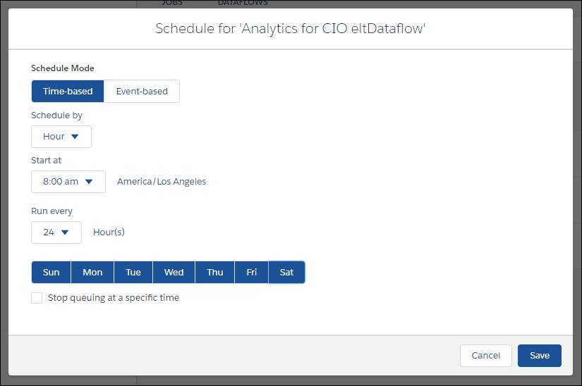 時間ベースのスケジュールオプションが選択されている [Schedule Analytics for CIO dataflow (CIO 向け Analytics データフローのスケジュール)] ページ