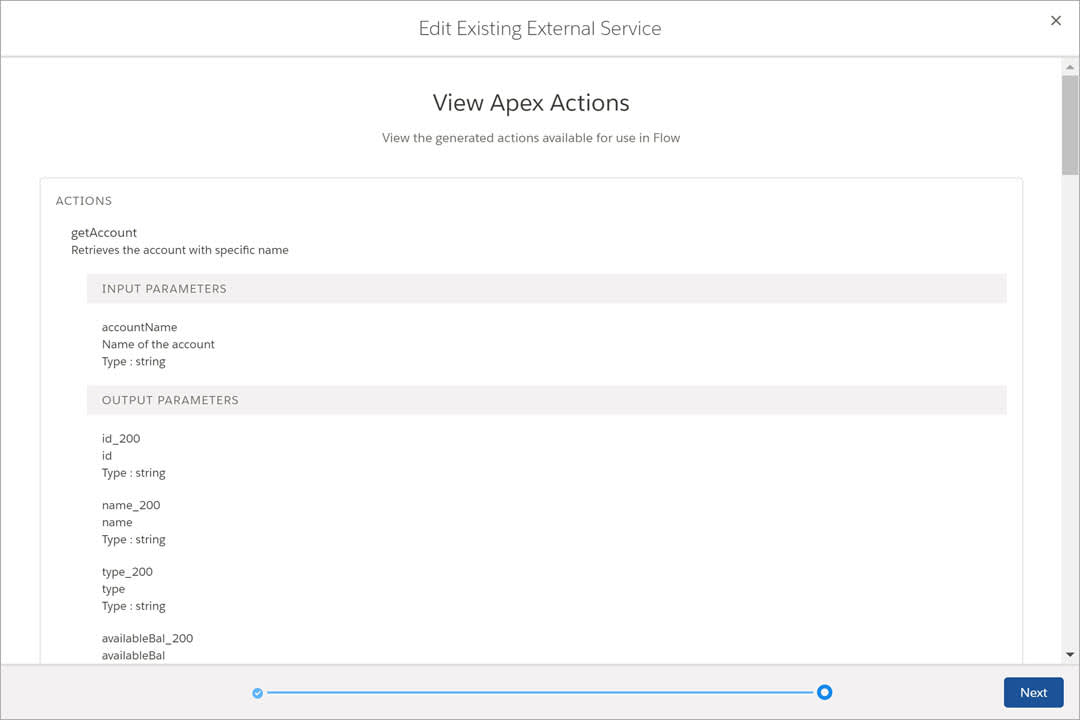 Apex actions visible in the External Services wizard.