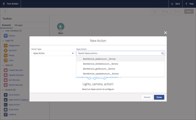 The Flow Builder with External Services Apex actions visible.