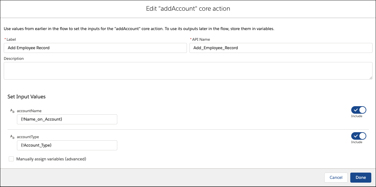 Edit addAccount Core Action screen