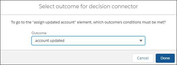 resultado do conector de decisão selecionado para a conta atualizada