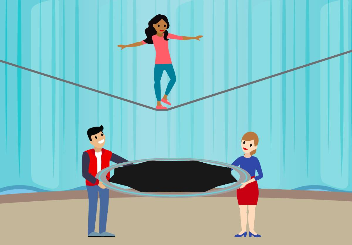 A woman walking on a tightrope while a man and woman hold a safety net beneath her.