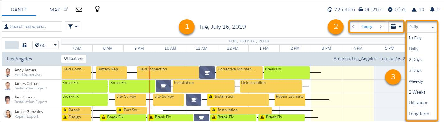 Gantt with options for changing the date and number of days to display.