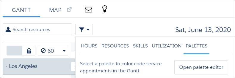 Filter icon menu opened displaying Palettes tab.