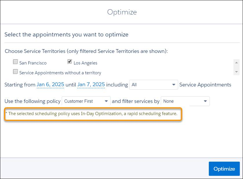 Optimize dialog showing Jacinta's values and a message that reads: The selected scheduling policy uses In-Day Optimization, a rapid scheduling feature.