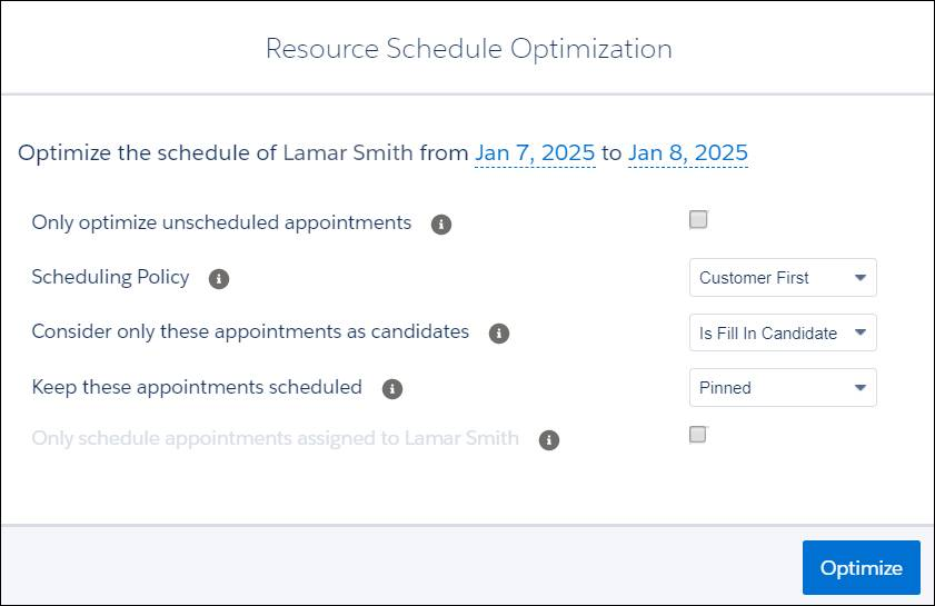 Optimize dialog with the values filled in for Lamar Smith.