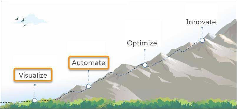 A mountain showing the steps of the field service journey ascending to the peak with visualize and automate highlighted.