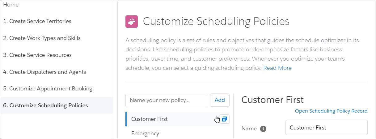 Customize Scheduling Policies with the clone icon selected.