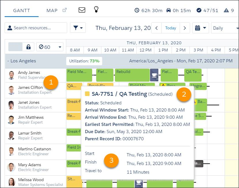 Schedule highlighting James Clifton as the mobile worker, the appointment as a QA Testing, and the time of the appointment.