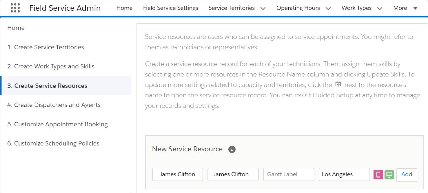 Guided Setup window showing James Clifton as a new service resource in Los Angeles with both licenses selected.