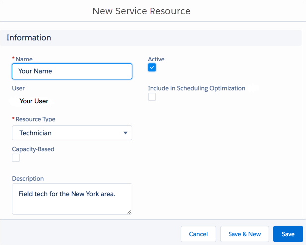New Service Resource dialog