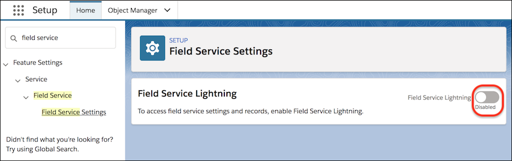 Field Service Settings page