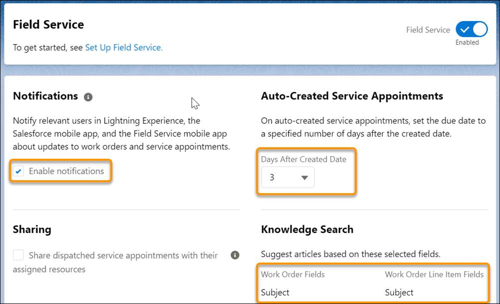 Field Service Settings page after Field Service is enabled
