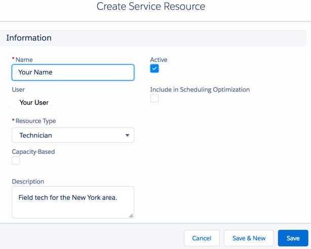 Create a Field Service Resource dialog