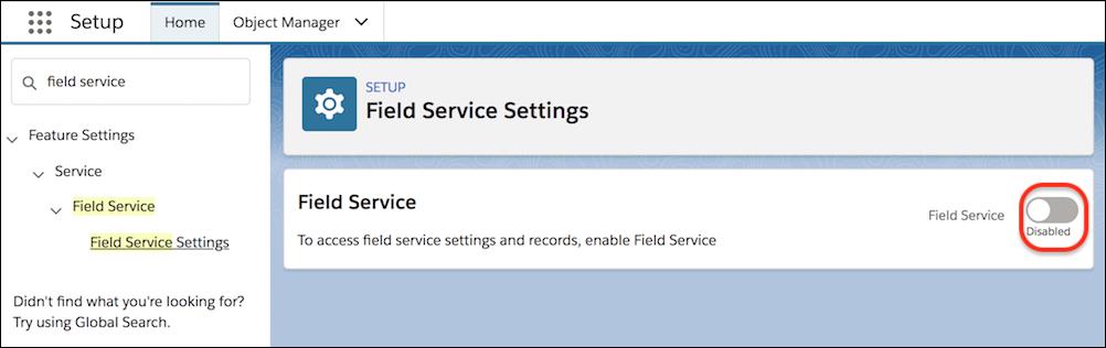 [Field Service 設定] ページ