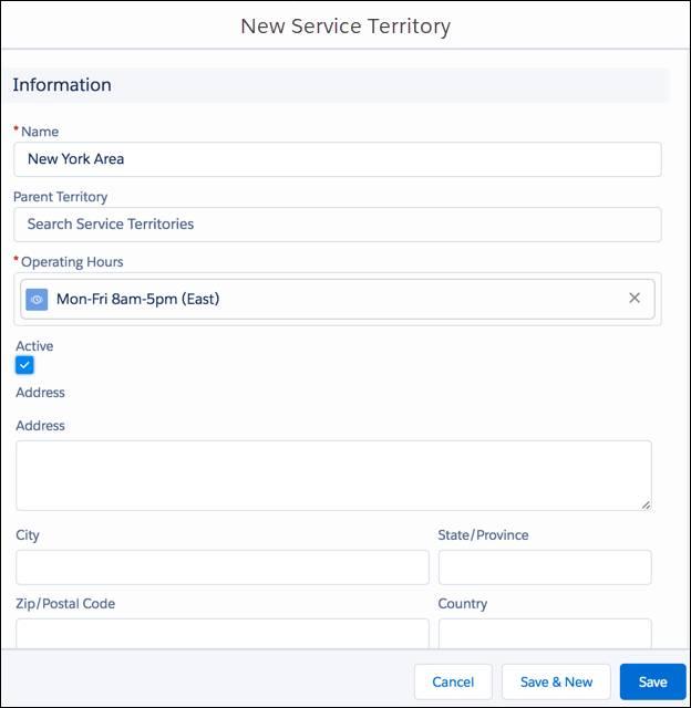 New Service Territory dialog