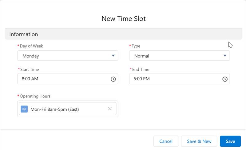 New Time Slot dialog with values for Monday
