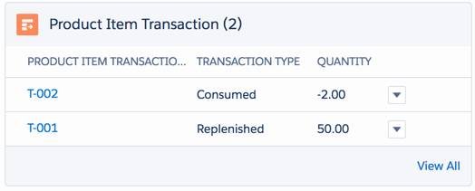 Product transaction object automatically records a part transaction.