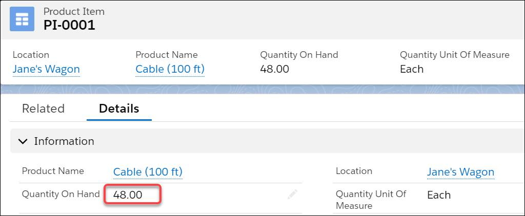 Product item object automatically tracks consumed parts.