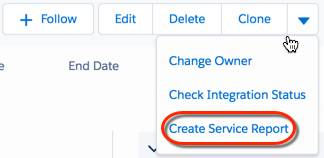 Create a customer service report from he drop-down arrow in the action row.
