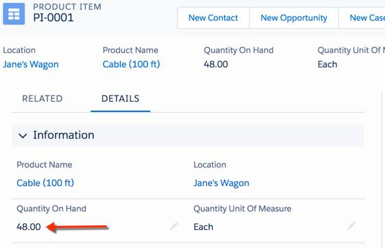 商品項目オブジェクトは、使用された部品を自動的に追跡します。