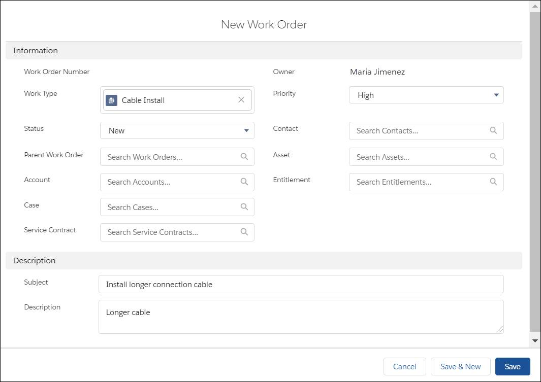 New Work Order page