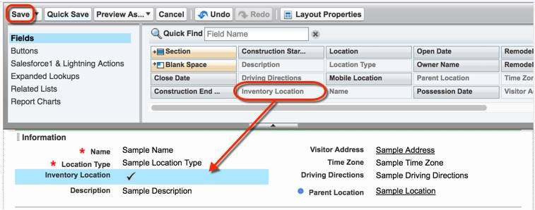 Location page layout settings