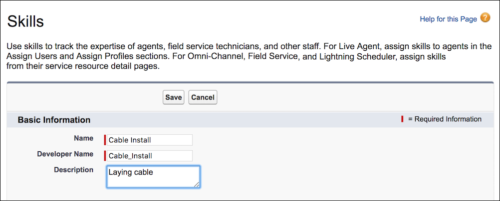 Create a Skill page in Salesforce Classic