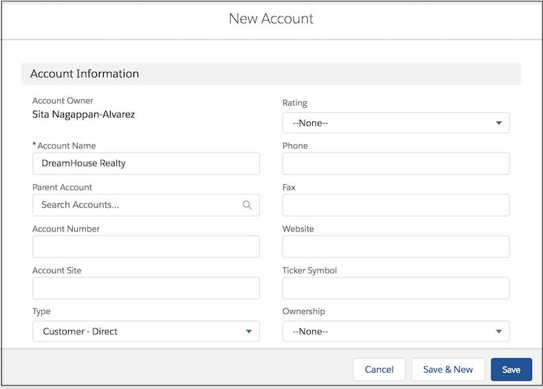 New account window with fields completed