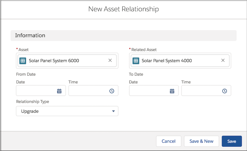 New asset relationship window with fields completed