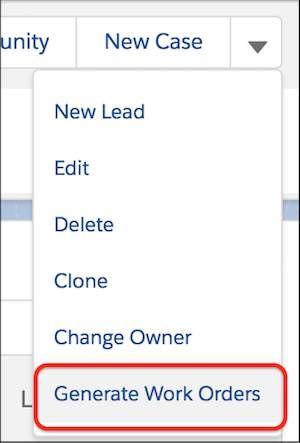 Generate Work Orders action in the maintenance plan action dropdown menu